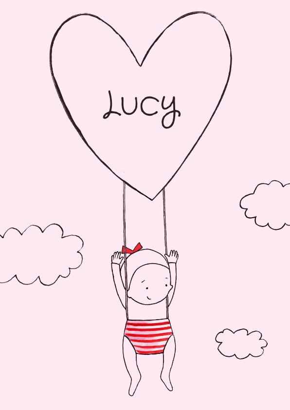 Geboortekaartjes - Geboortekaartje getekend meisje hart