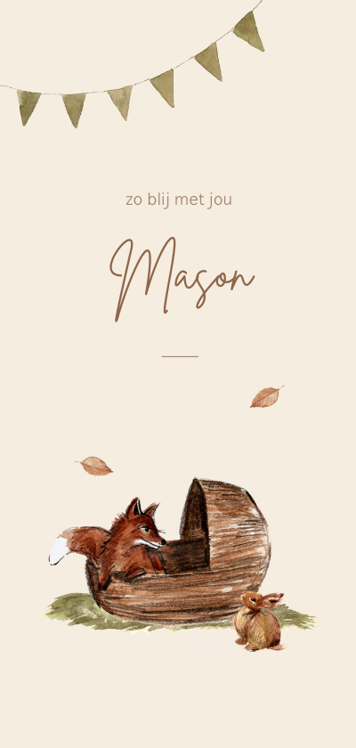 Geboortekaartjes - Geboortekaartje illustratie vosje en konijn bij een wiegje