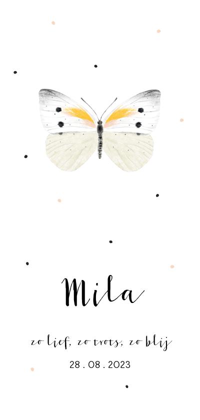 Geboortekaartjes - Geboortekaartje illustratie witte vlinder en stipjes