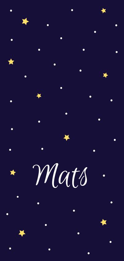 Geboortekaartjes - Geboortekaartje in diepblauw met lieve maan en sterren
