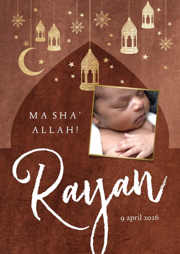 Geboortekaartjes - Geboortekaartje islamitisch goudlook lantaarn maan sterren