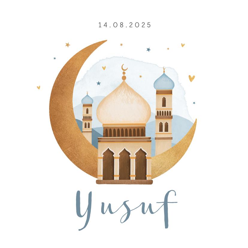 Geboortekaartjes - Geboortekaartje islamitisch moskee maan sterren hartjes