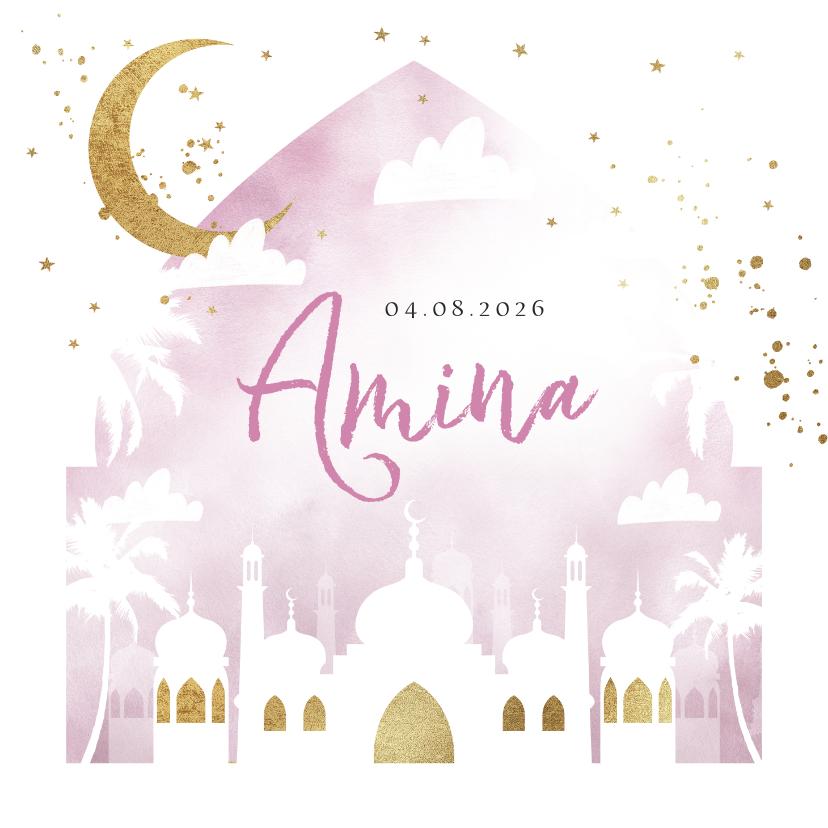 Geboortekaartjes - Geboortekaartje islamitisch waterverf lila goudlook moskee