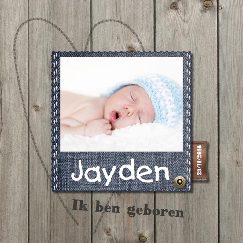 Geboortekaartjes - Geboortekaartje Jayden hout - LOVZ
