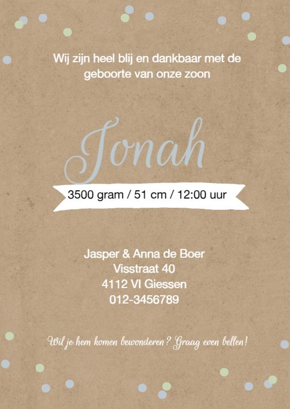 Geboortekaartjes - Geboortekaartje Jonah stippen