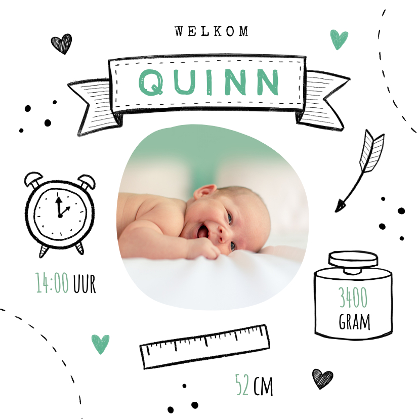 Geboortekaartjes - Geboortekaartje jongen doodle illustratie foto stoer