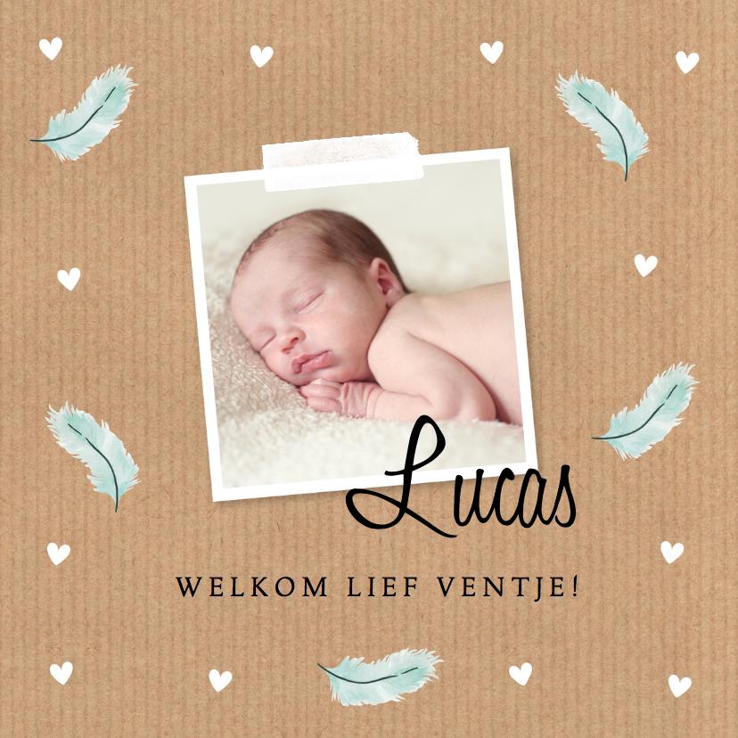 Geboortekaartjes - Geboortekaartje jongen foto kraft veertjes