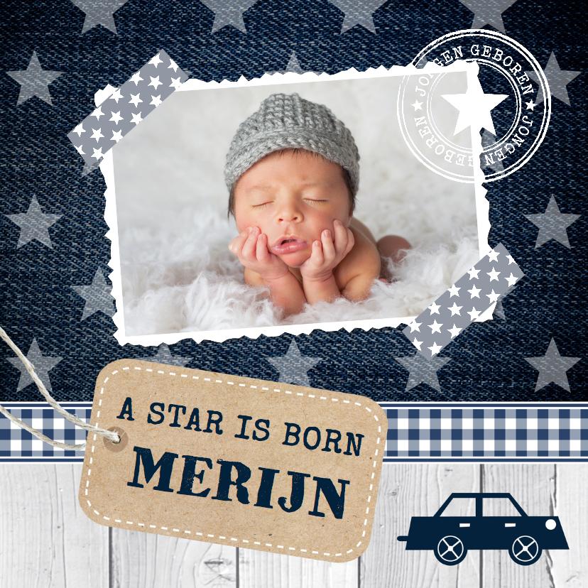 Geboortekaartjes - Geboortekaartje jongen foto sterren label