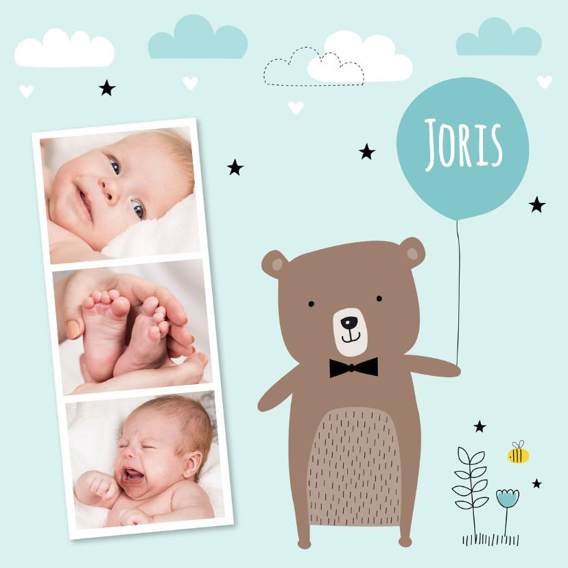 Geboortekaartjes - Geboortekaartje jongen fotocollage beertje