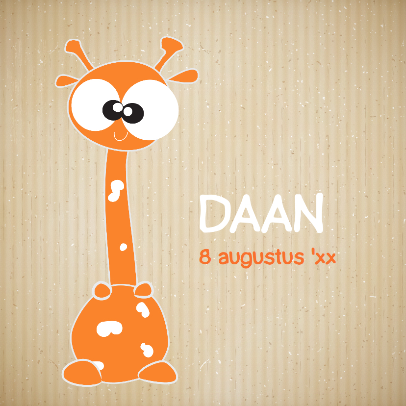 Geboortekaartjes - geboortekaartje-jongen-giraffe-leuk