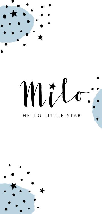 Geboortekaartjes - Geboortekaartje jongen hip en trendy met stippen en sterren