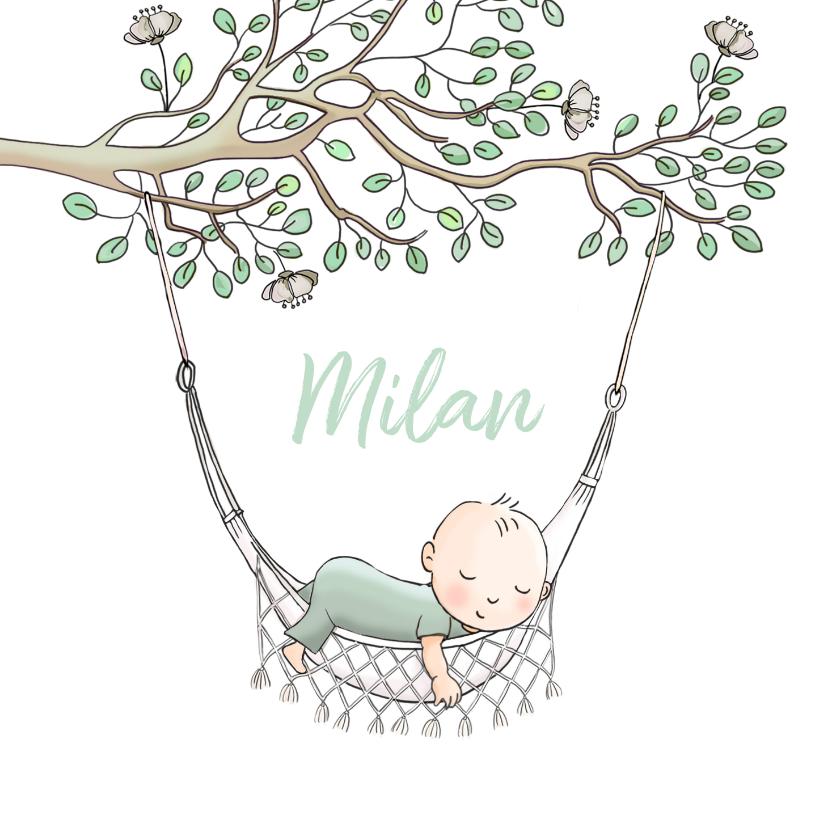 Geboortekaartjes - Geboortekaartje jongen in hangmat