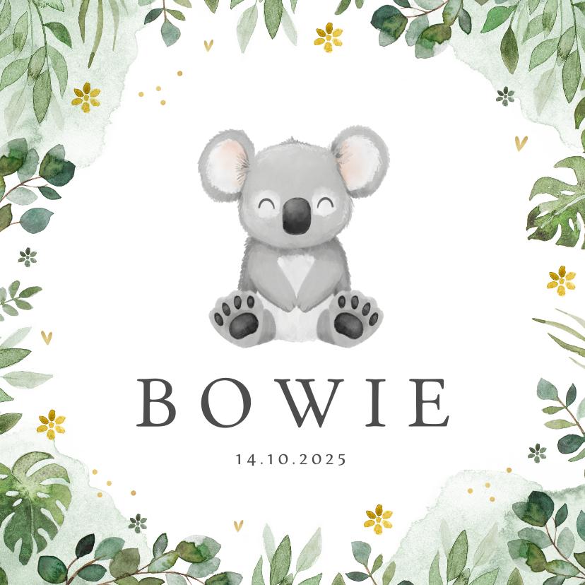 Geboortekaartjes - Geboortekaartje jongen koala jungle bloemen lief