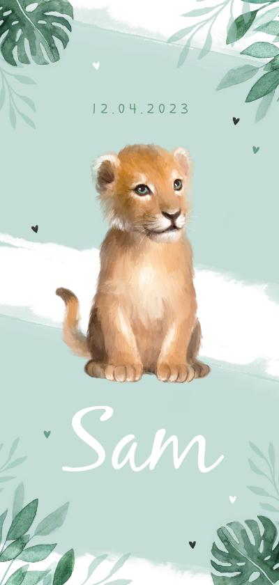 Geboortekaartjes - Geboortekaartje jongen leeuw waterverf