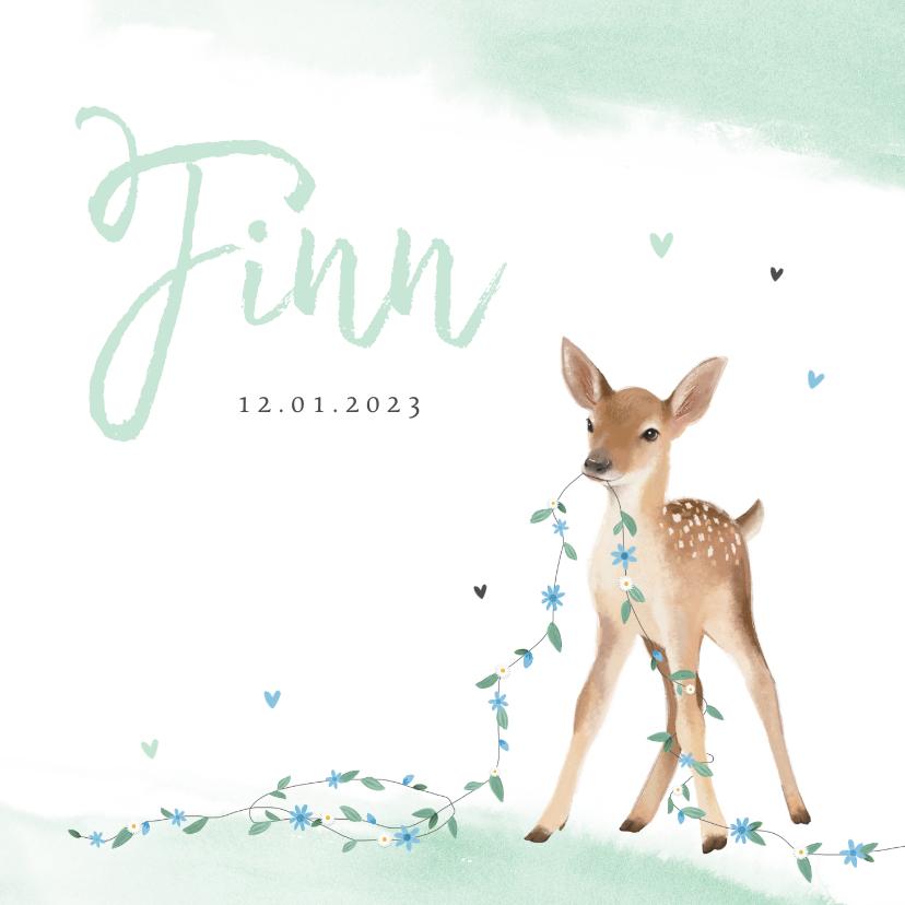 Geboortekaartjes - Geboortekaartje jongen lief hertje bloemen lente waterverf