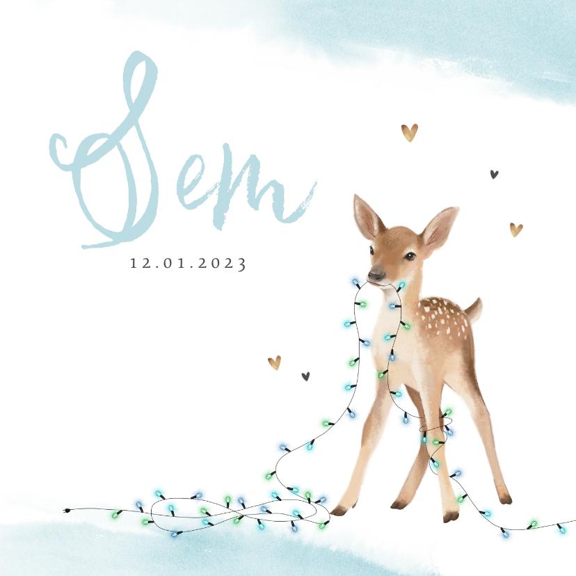 Geboortekaartjes - Geboortekaartje jongen lief hertje lampjes winter waterverf