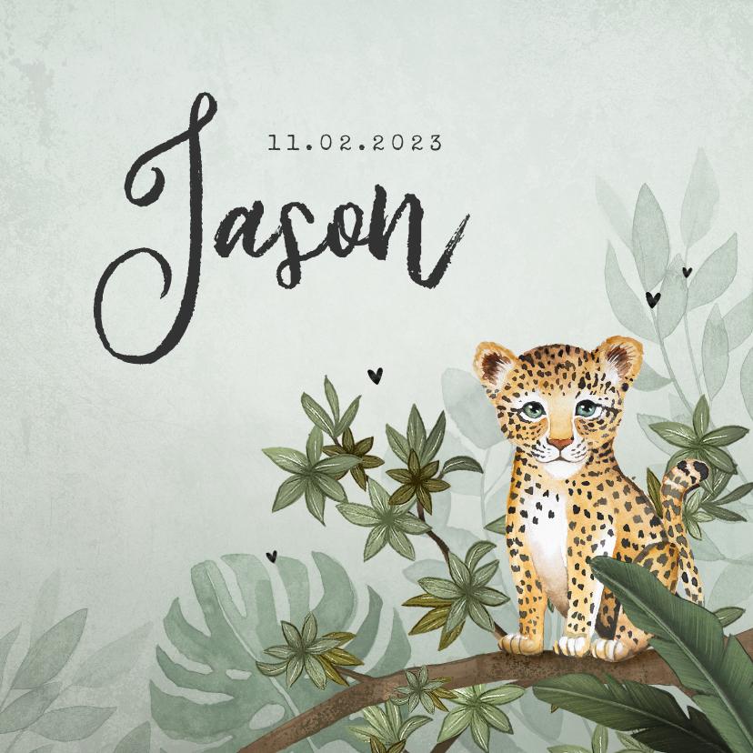 Geboortekaartjes - Geboortekaartje jongen luipaard botanisch groen jungle