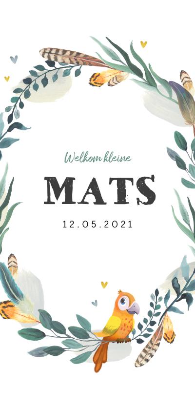 Geboortekaartjes - Geboortekaartje jongen met bladeren, veertjes en vogeltje