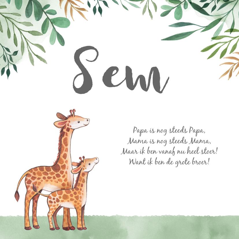 Geboortekaartjes - Geboortekaartje jongen met bladeren waterverf en  giraffe's