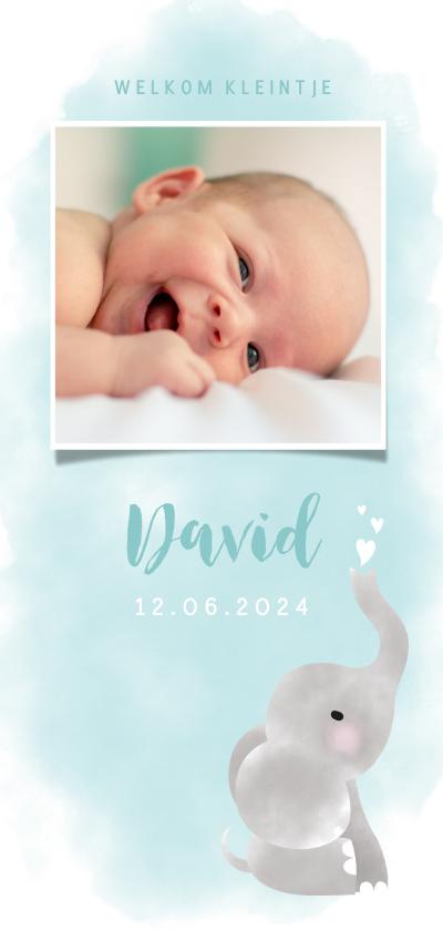 Geboortekaartjes - Geboortekaartje jongen met olifantje, waterverf en hartjes