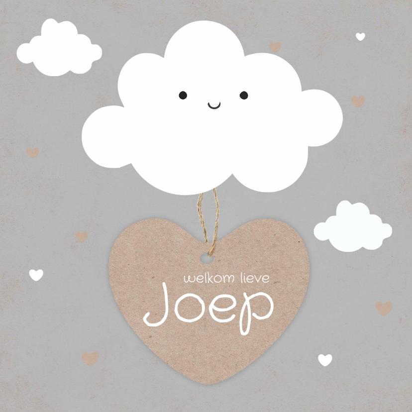 Geboortekaartjes - Geboortekaartje jongen met schattig wolkje en hartjes label