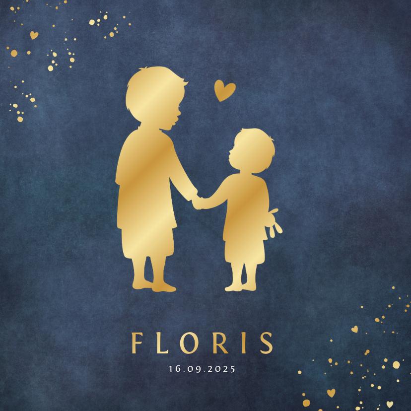 Geboortekaartjes - Geboortekaartje jongen met silhouet van 2 broers in goud