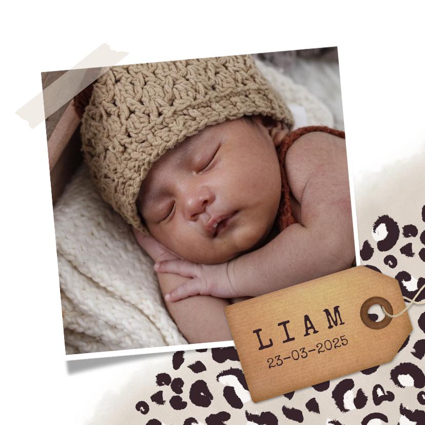 Geboortekaartjes - Geboortekaartje jongen met taupe panterprint en foto