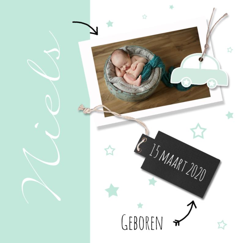 Geboortekaartjes - Geboortekaartje jongen mint