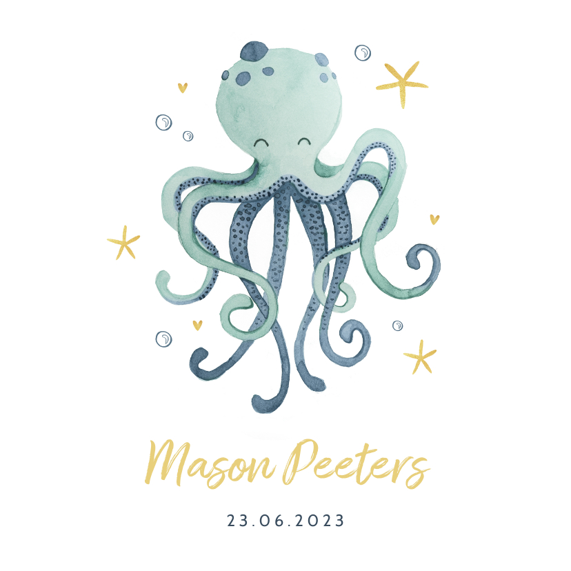 Geboortekaartjes - Geboortekaartje jongen octopus oceaan sterren hartjes