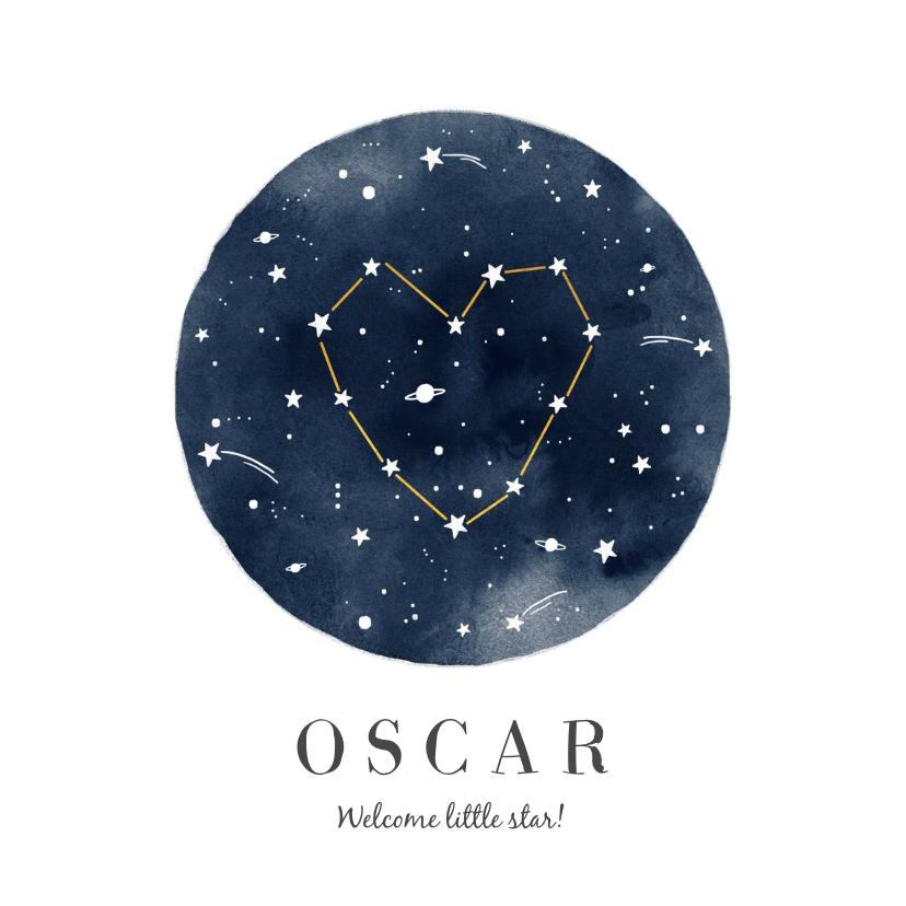 Geboortekaartjes - Geboortekaartje jongen of meisje universum sterren