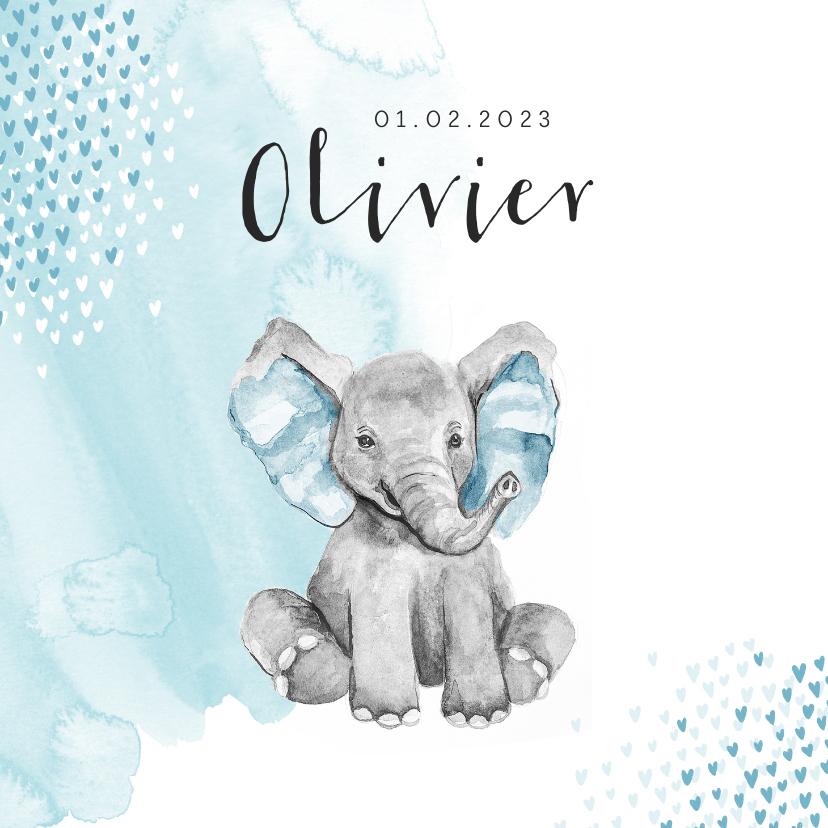 Geboortekaartjes - Geboortekaartje jongen olifant waterverf hartjes blauw
