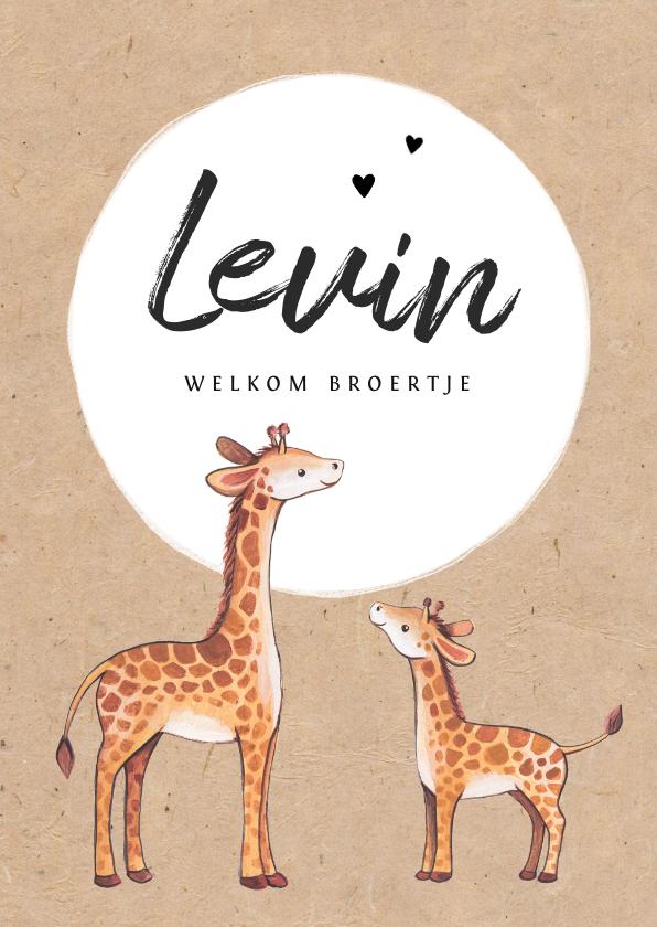Geboortekaartjes - Geboortekaartje jongen op kraftlook papier met giraffe's