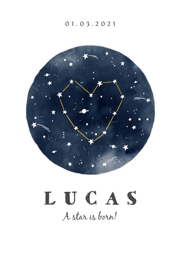 Geboortekaartjes - Geboortekaartje jongen origineel universum sterren