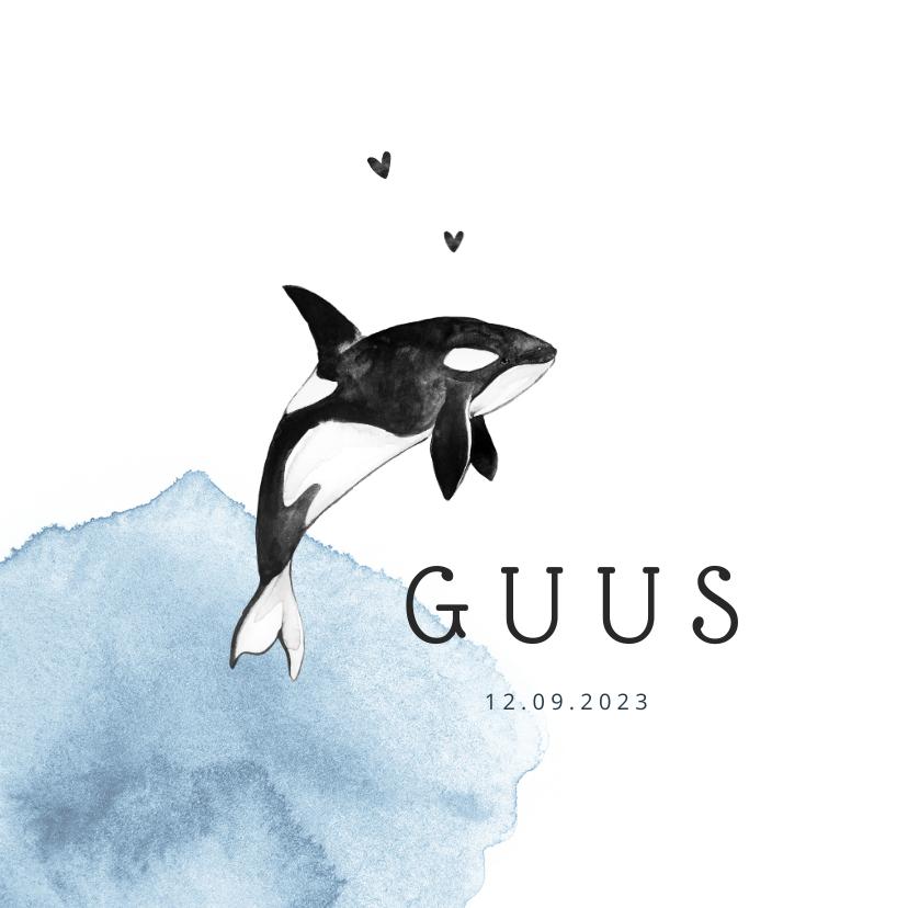 Geboortekaartjes - Geboortekaartje jongen orka waterverf hartjes