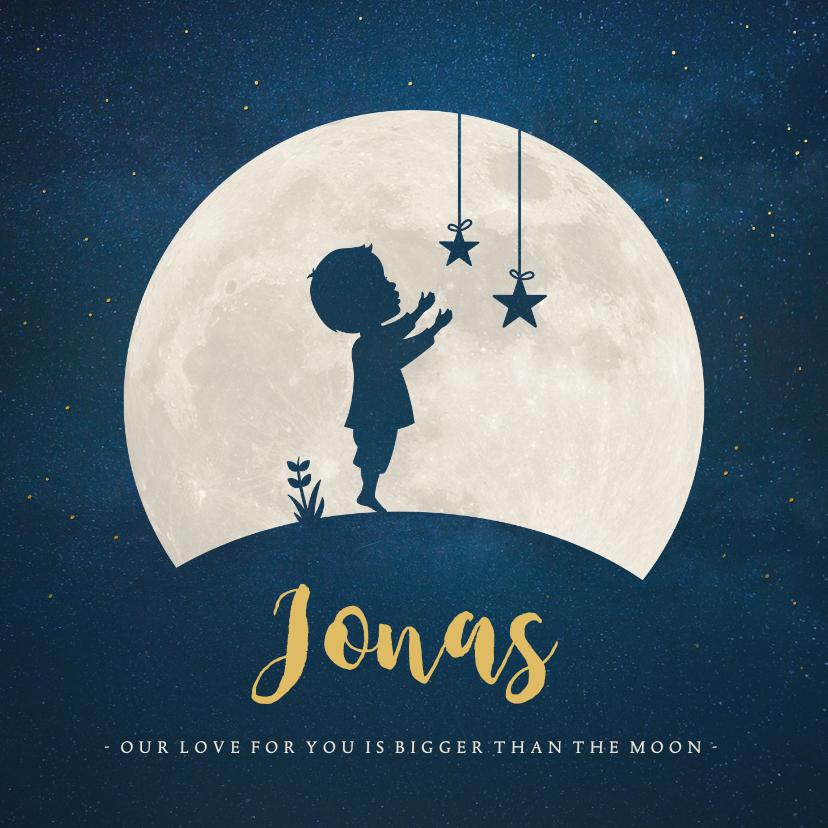 Geboortekaartjes - Geboortekaartje Jongen - silhouet met maan en sterren