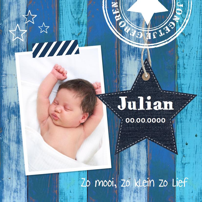 Geboortekaartjes - Geboortekaartje jongen ster houtprint