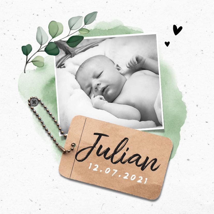 Geboortekaartjes - Geboortekaartje jongen stoer lief met waterverf en label