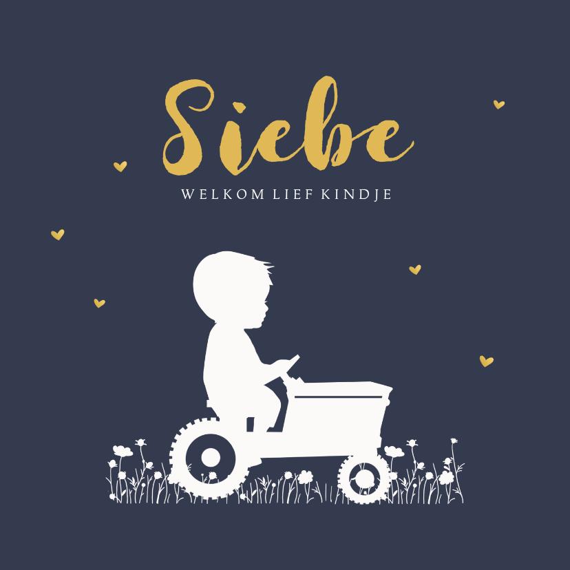 Geboortekaartjes - Geboortekaartje jongen tractor blauw