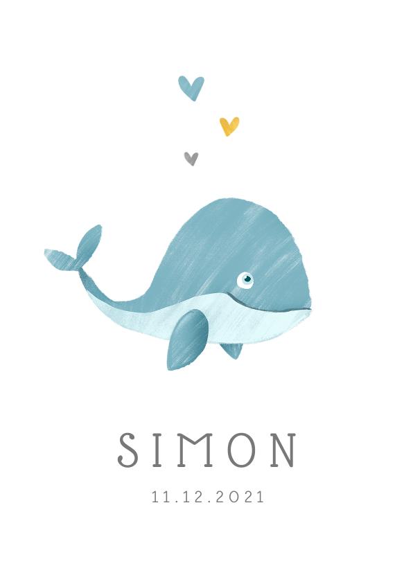 Geboortekaartjes - Geboortekaartje jongen walvis hartjes lief illustratie