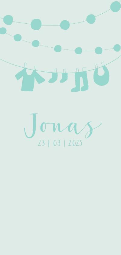 Geboortekaartjes - Geboortekaartje jongen waslijn en slingers blauw