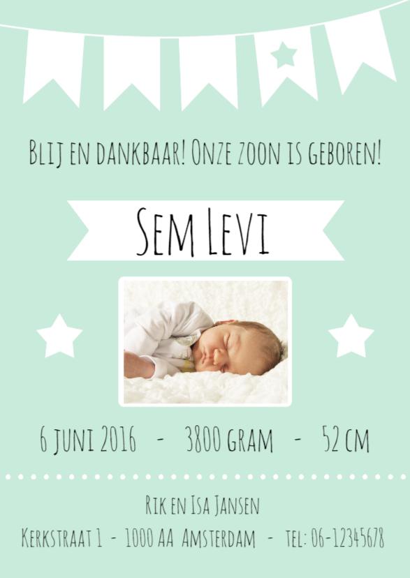 Geboortekaartjes - Geboortekaartje Jongen - WW