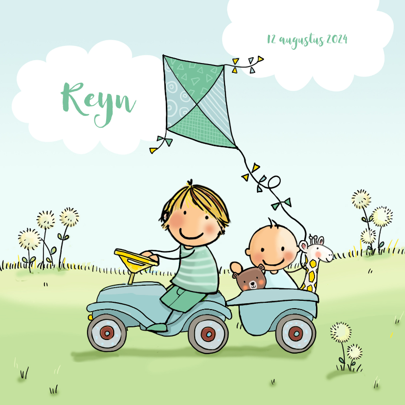 Geboortekaartjes - Geboortekaartje jongens in auto aanhangwagen