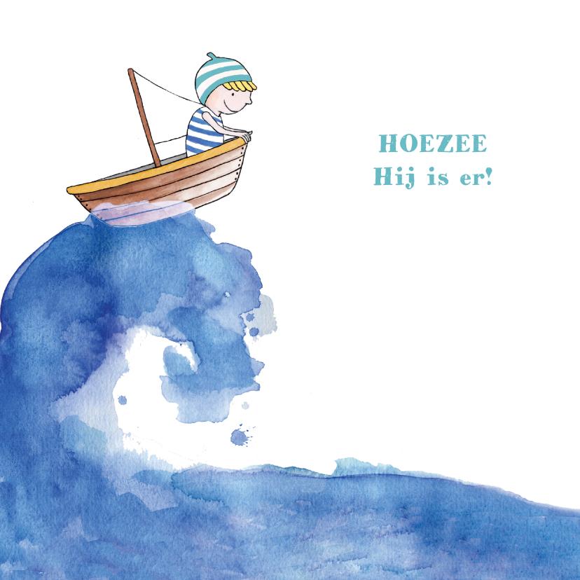 Geboortekaartjes - Geboortekaartje jongetje in bootje op zee