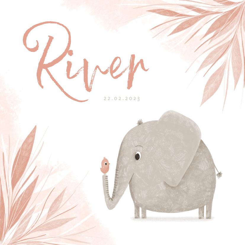 Geboortekaartjes - Geboortekaartje jungle blaadjes met olifant en vogel