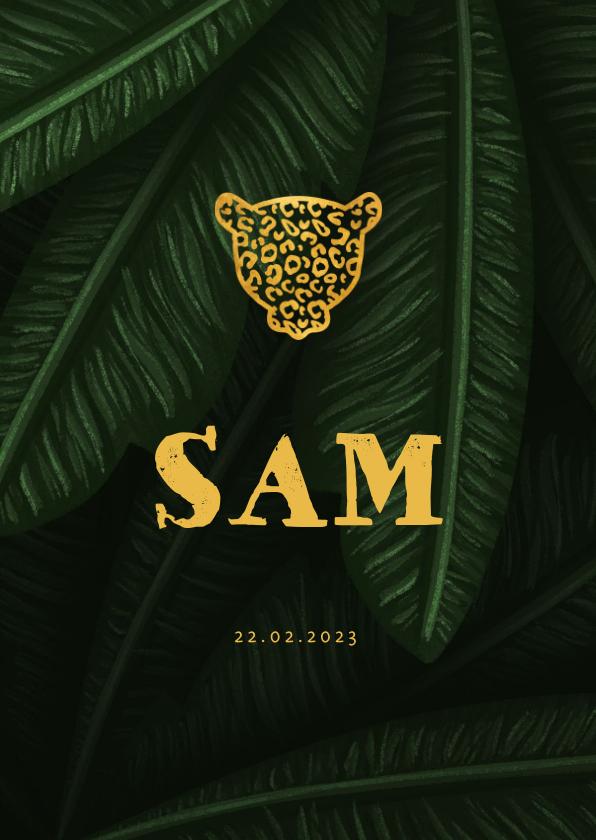 Geboortekaartjes - Geboortekaartje jungle bladeren met silhouet panter goud