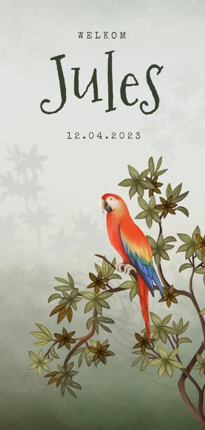 Geboortekaartjes - Geboortekaartje jungle dieren papegaai groen