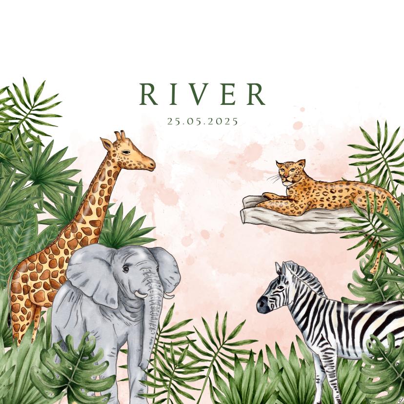 Geboortekaartjes - Geboortekaartje jungle dieren waterverf roze
