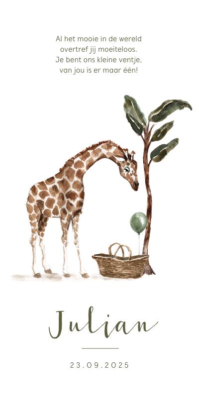 Geboortekaartjes - Geboortekaartje jungle giraf baby mandje boom
