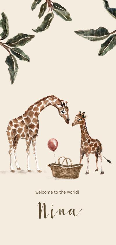 Geboortekaartjes - Geboortekaartje jungle grote en kleine giraf