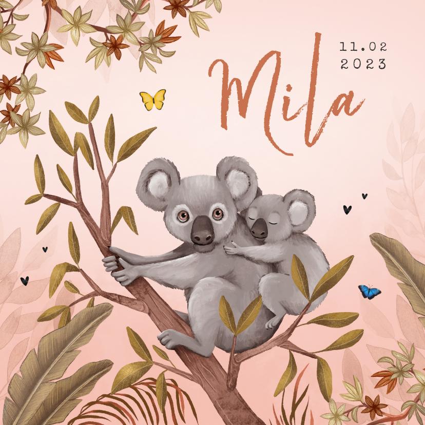 Geboortekaartjes - Geboortekaartje jungle meisje koala beer vlinders